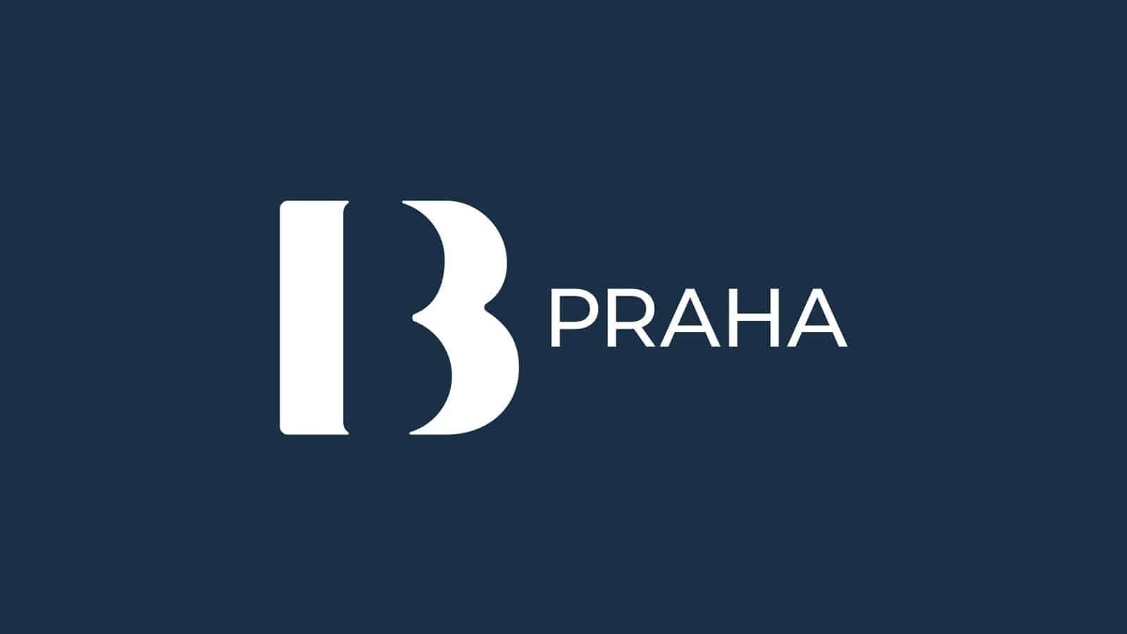 IBB Praha logo design white on dark blue