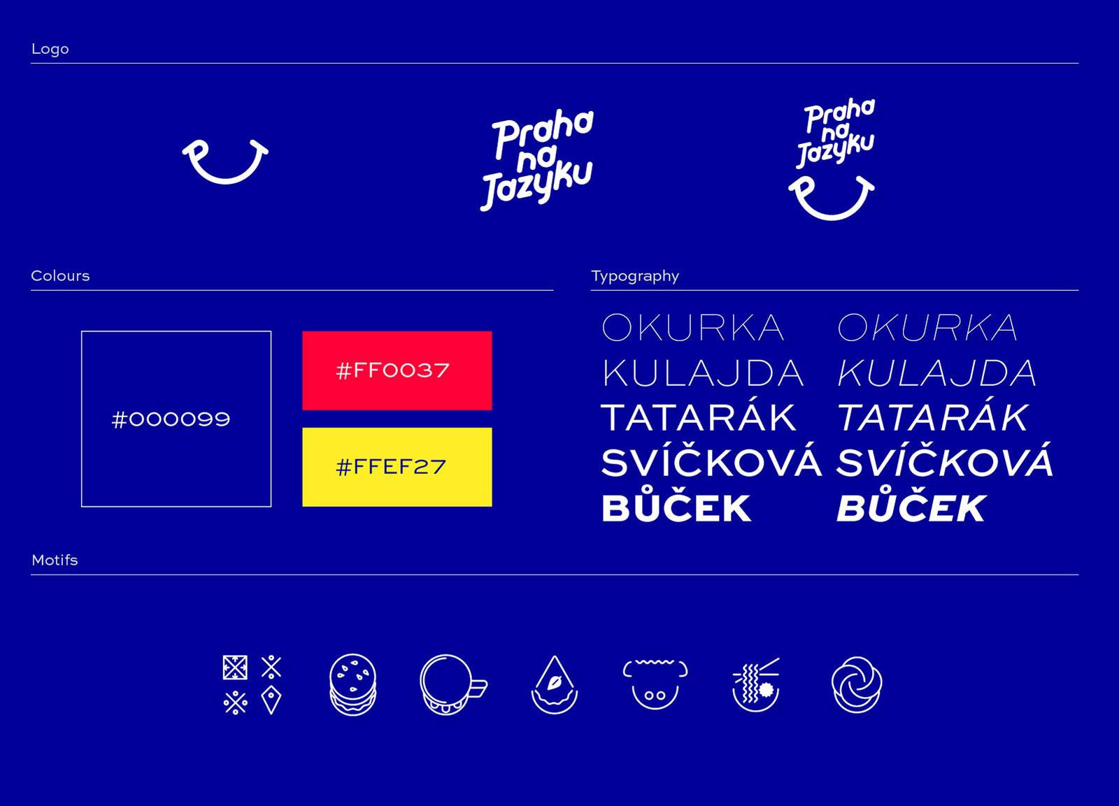Praha na jazyku brand identity